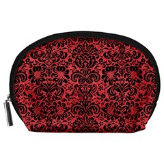 Damask2 Black Marble & Red Colored Pencil Accessory Pouches (large)  by trendistuff