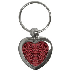 Damask2 Black Marble & Red Colored Pencil (r) Key Chains (heart)  by trendistuff