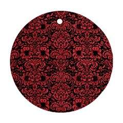 Damask2 Black Marble & Red Colored Pencil (r) Round Ornament (two Sides) by trendistuff