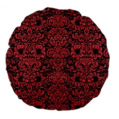 Damask2 Black Marble & Red Colored Pencil (r) Large 18  Premium Round Cushions by trendistuff