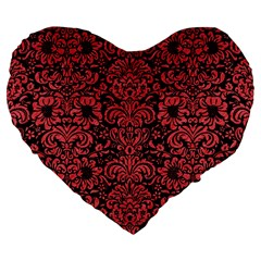 Damask2 Black Marble & Red Colored Pencil (r) Large 19  Premium Flano Heart Shape Cushions by trendistuff