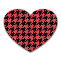 Houndstooth1 Black Marble & Red Colored Pencil Heart Mousepads