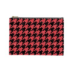Houndstooth1 Black Marble & Red Colored Pencil Cosmetic Bag (large)  by trendistuff