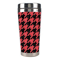 Houndstooth1 Black Marble & Red Colored Pencil Stainless Steel Travel Tumblers by trendistuff