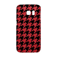 Houndstooth1 Black Marble & Red Colored Pencil Galaxy S6 Edge