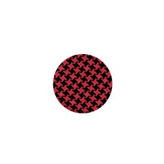 Houndstooth2 Black Marble & Red Colored Pencil 1  Mini Buttons by trendistuff