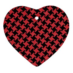 Houndstooth2 Black Marble & Red Colored Pencil Ornament (heart) by trendistuff