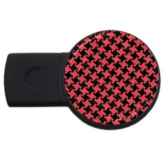 Houndstooth2 Black Marble & Red Colored Pencil Usb Flash Drive Round (2 Gb) by trendistuff