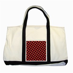 Houndstooth2 Black Marble & Red Colored Pencil Two Tone Tote Bag by trendistuff