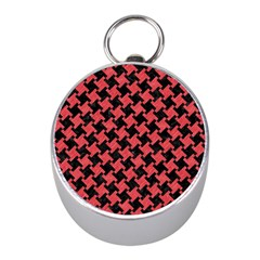 Houndstooth2 Black Marble & Red Colored Pencil Mini Silver Compasses by trendistuff