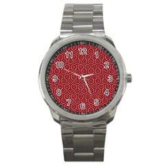 Hexagon1 Black Marble & Red Colored Pencil Sport Metal Watch by trendistuff