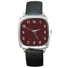 Hexagon1 Black Marble & Red Colored Pencil (r) Square Metal Watch by trendistuff