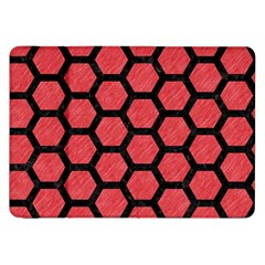 Hexagon2 Black Marble & Red Colored Pencil Samsung Galaxy Tab 8 9  P7300 Flip Case by trendistuff