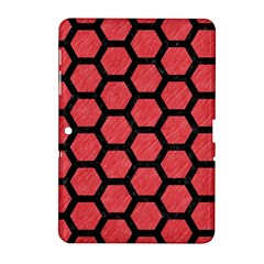 Hexagon2 Black Marble & Red Colored Pencil Samsung Galaxy Tab 2 (10 1 ) P5100 Hardshell Case  by trendistuff