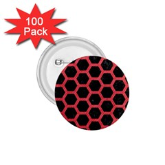 Hexagon2 Black Marble & Red Colored Pencil (r) 1 75  Buttons (100 Pack)  by trendistuff