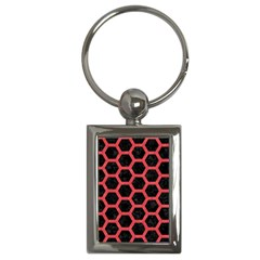 Hexagon2 Black Marble & Red Colored Pencil (r) Key Chains (rectangle)  by trendistuff