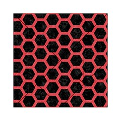 Hexagon2 Black Marble & Red Colored Pencil (r) Acrylic Tangram Puzzle (6  X 6 ) by trendistuff