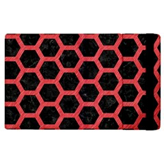 Hexagon2 Black Marble & Red Colored Pencil (r) Apple Ipad 3/4 Flip Case by trendistuff