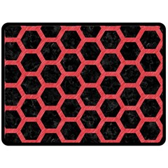 Hexagon2 Black Marble & Red Colored Pencil (r) Double Sided Fleece Blanket (large)  by trendistuff