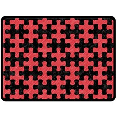 Puzzle1 Black Marble & Red Colored Pencil Fleece Blanket (large)  by trendistuff