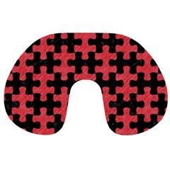 Puzzle1 Black Marble & Red Colored Pencil Travel Neck Pillows by trendistuff