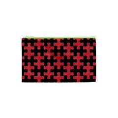 Puzzle1 Black Marble & Red Colored Pencil Cosmetic Bag (xs) by trendistuff