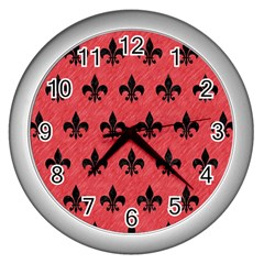 Royal1 Black Marble & Red Colored Pencil (r) Wall Clocks (silver)  by trendistuff