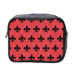 Royal1 Black Marble & Red Colored Pencil (r) Mini Toiletries Bag 2 Side by trendistuff
