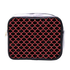 Scales1 Black Marble & Red Colored Pencil (r) Mini Toiletries Bags by trendistuff