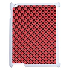 Scales2 Black Marble & Red Colored Pencil Apple Ipad 2 Case (white) by trendistuff