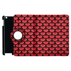 Scales3 Black Marble & Red Colored Pencil Apple Ipad 3/4 Flip 360 Case by trendistuff