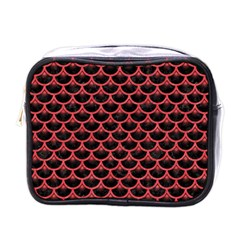 Scales3 Black Marble & Red Colored Pencil (r) Mini Toiletries Bags by trendistuff