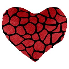Skin1 Black Marble & Red Colored Pencil (r) Large 19  Premium Flano Heart Shape Cushions by trendistuff