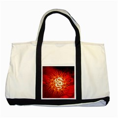 Wonderful Golden Dragon On Red Vintage Background Two Tone Tote Bag by FantasyWorld7