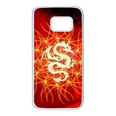 Wonderful Golden Dragon On Red Vintage Background Samsung Galaxy S7 White Seamless Case by FantasyWorld7