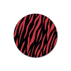 Skin3 Black Marble & Red Colored Pencil (r) Rubber Coaster (round)  by trendistuff