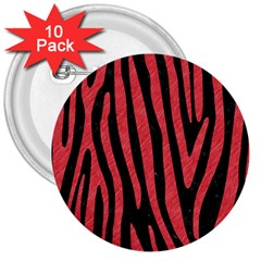Skin4 Black Marble & Red Colored Pencil 3  Buttons (10 Pack)  by trendistuff