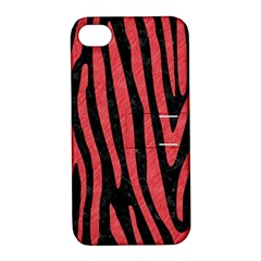 Skin4 Black Marble & Red Colored Pencil Apple Iphone 4/4s Hardshell Case With Stand by trendistuff