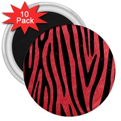 Skin4 Black Marble & Red Colored Pencil (r) 3  Magnets (10 Pack)  by trendistuff