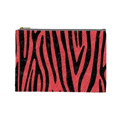 Skin4 Black Marble & Red Colored Pencil (r) Cosmetic Bag (large)  by trendistuff