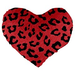 Skin5 Black Marble & Red Colored Pencil (r) Large 19  Premium Flano Heart Shape Cushions by trendistuff