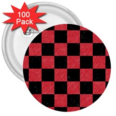 Square1 Black Marble & Red Colored Pencil 3  Buttons (100 Pack)  by trendistuff