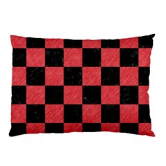Square1 Black Marble & Red Colored Pencil Pillow Case by trendistuff