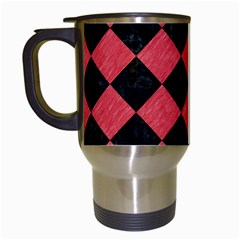 Square2 Black Marble & Red Colored Pencil Travel Mugs (white) by trendistuff