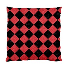 Square2 Black Marble & Red Colored Pencil Standard Cushion Case (one Side)
