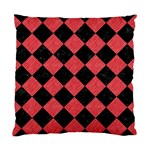 SQUARE2 BLACK MARBLE & RED COLORED PENCIL Standard Cushion Case (One Side) Front