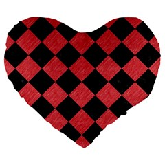 Square2 Black Marble & Red Colored Pencil Large 19  Premium Heart Shape Cushions by trendistuff
