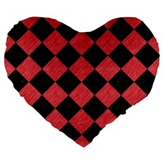 Square2 Black Marble & Red Colored Pencil Large 19  Premium Flano Heart Shape Cushions by trendistuff