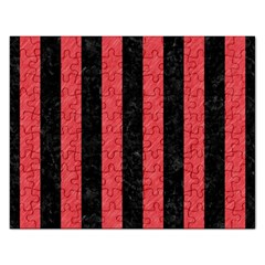 Stripes1 Black Marble & Red Colored Pencil Rectangular Jigsaw Puzzl by trendistuff