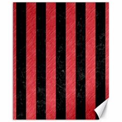 Stripes1 Black Marble & Red Colored Pencil Canvas 16  X 20   by trendistuff